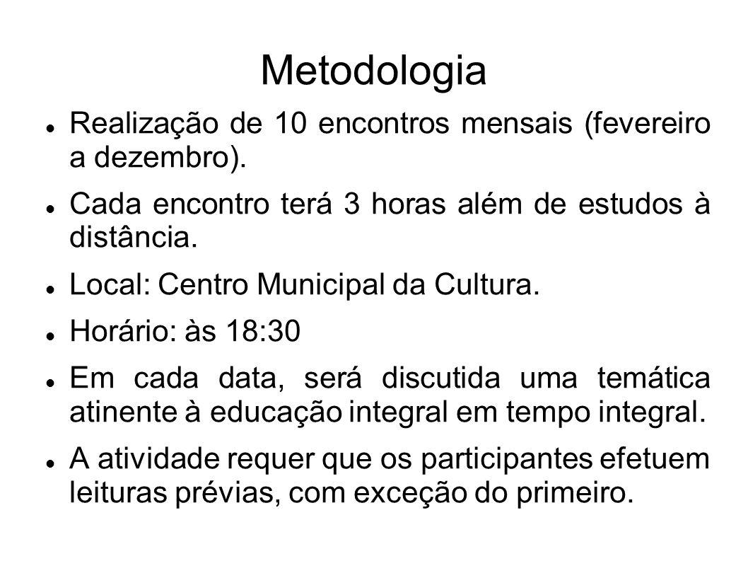 Metodologia Realização de 10 encontros mensais (fevereiro a dezembro).