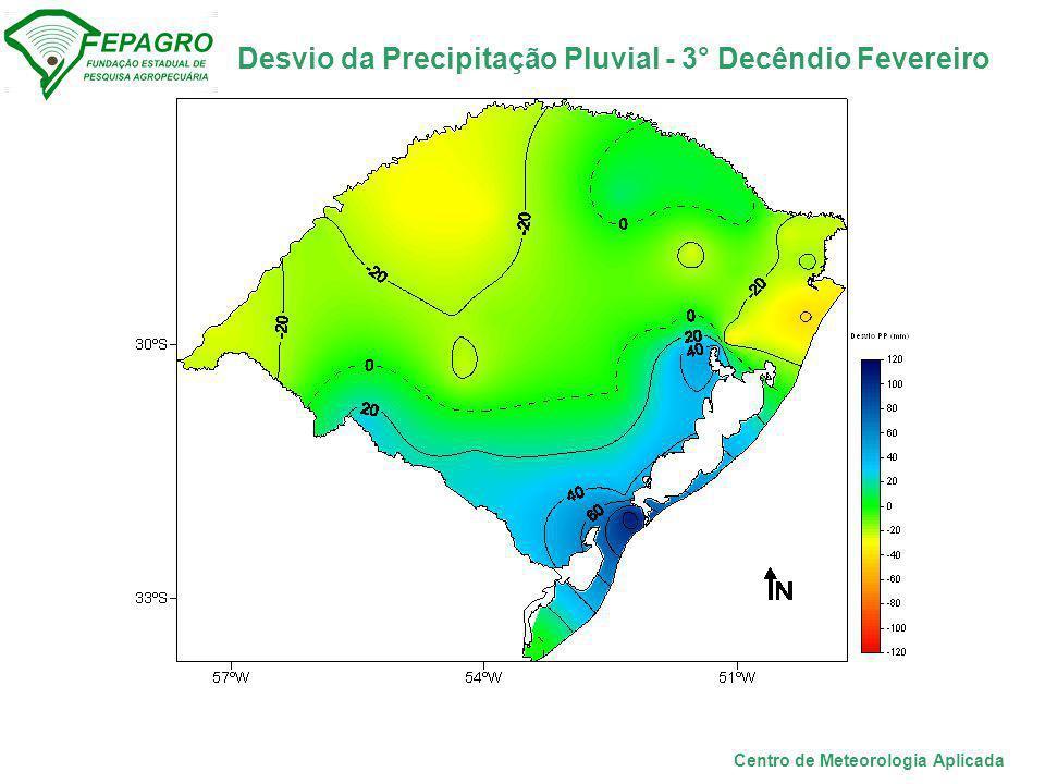 Desvio da Precipitação Pluvial - 3° Decêndio Fevereiro Centro de Meteorologia Aplicada