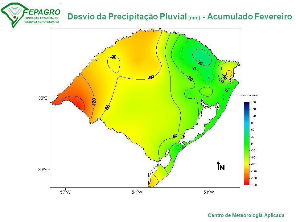 Desvio da Precipitação Pluvial (mm) - Acumulado Fevereiro Centro de Meteorologia Aplicada