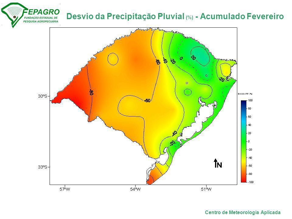 Desvio da Precipitação Pluvial (%) - Acumulado Fevereiro Centro de Meteorologia Aplicada