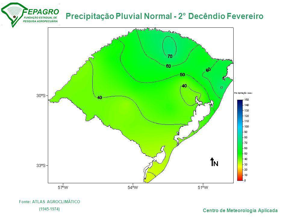 Precipitação Pluvial Normal - 2° Decêndio Fevereiro Centro de Meteorologia Aplicada Fonte: ATLAS AGROCLIMÁTICO (1945-1974)