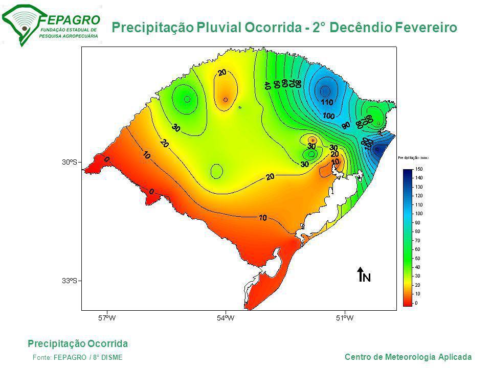 Desvio da Precipitação Pluvial - 2° Decêndio Fevereiro Centro de Meteorologia Aplicada