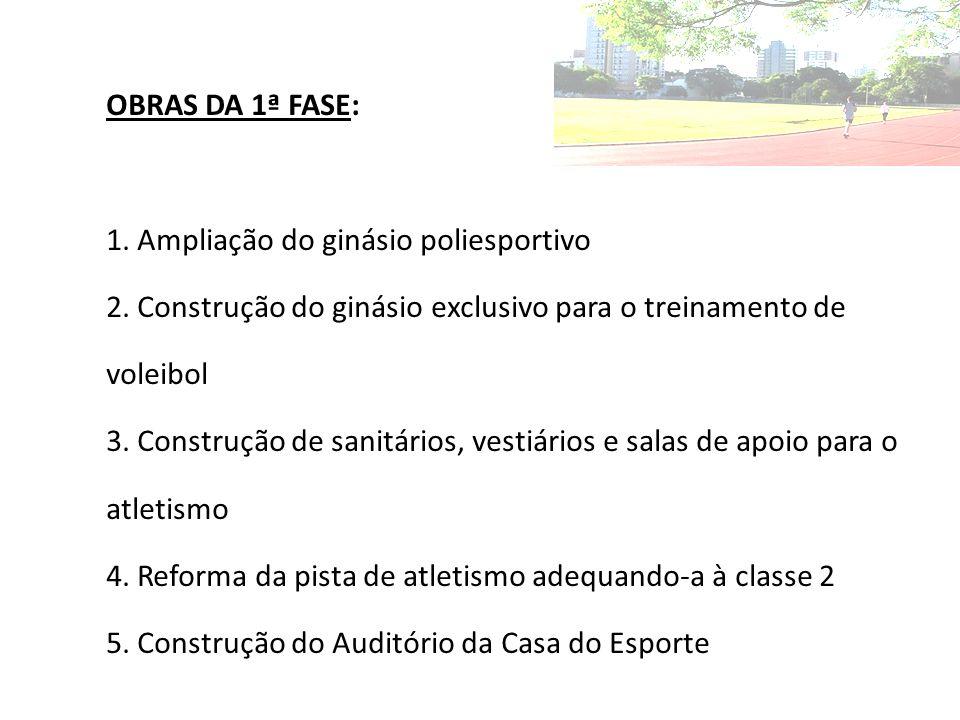 OBRAS DA 1ª FASE: 1.Ampliação do ginásio poliesportivo 2.