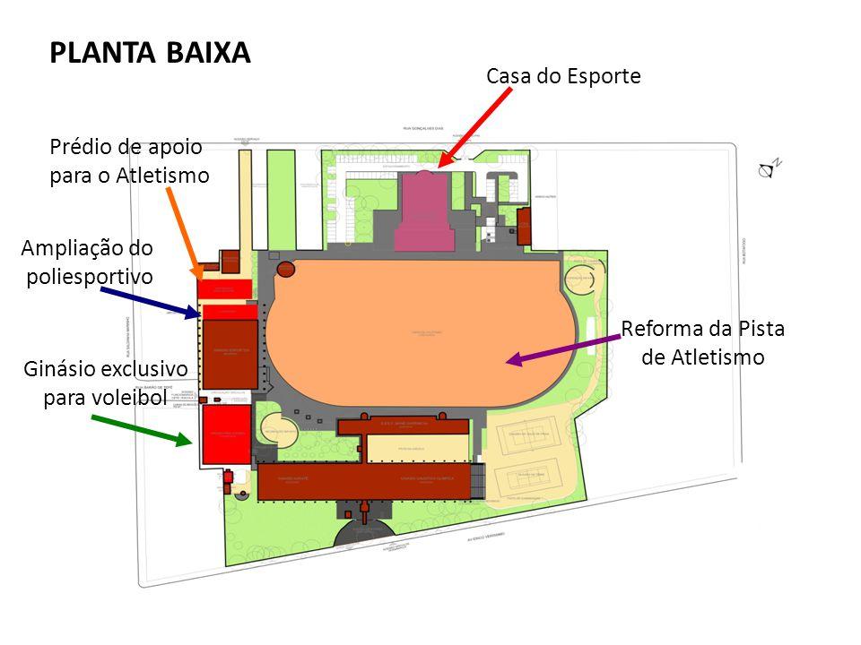 Casa do Esporte Reforma da Pista de Atletismo Ampliação do poliesportivo Ginásio exclusivo para voleibol Prédio de apoio para o Atletismo PLANTA BAIXA