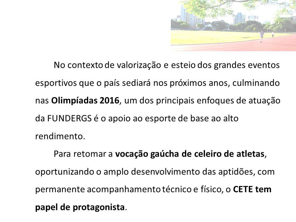 No contexto de valorização e esteio dos grandes eventos esportivos que o país sediará nos próximos anos, culminando nas Olimpíadas 2016, um dos principais enfoques de atuação da FUNDERGS é o apoio ao esporte de base ao alto rendimento.