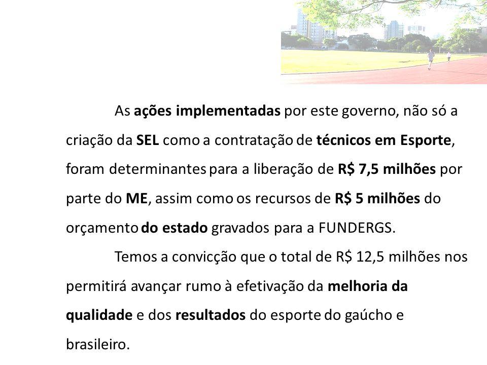 As ações implementadas por este governo, não só a criação da SEL como a contratação de técnicos em Esporte, foram determinantes para a liberação de R$ 7,5 milhões por parte do ME, assim como os recursos de R$ 5 milhões do orçamento do estado gravados para a FUNDERGS.