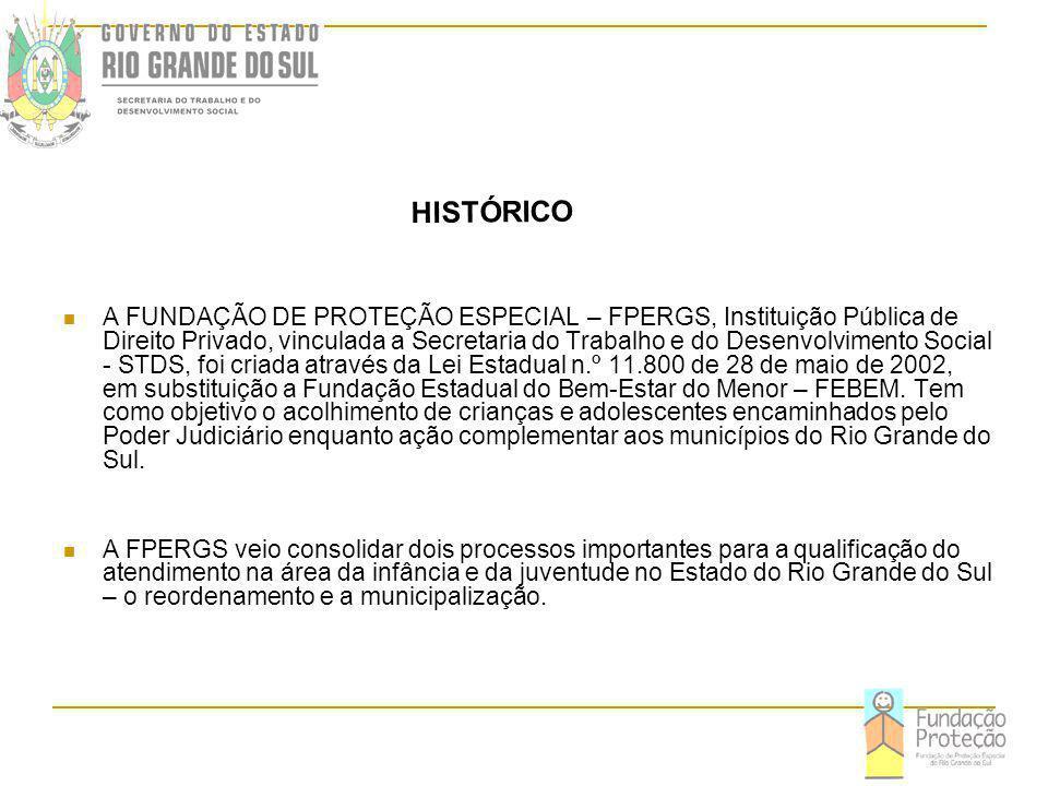 A FUNDAÇÃO DE PROTEÇÃO ESPECIAL – FPERGS, Instituição Pública de Direito Privado, vinculada a Secretaria do Trabalho e do Desenvolvimento Social - STDS, foi criada através da Lei Estadual n.º 11.800 de 28 de maio de 2002, em substituição a Fundação Estadual do Bem-Estar do Menor – FEBEM.