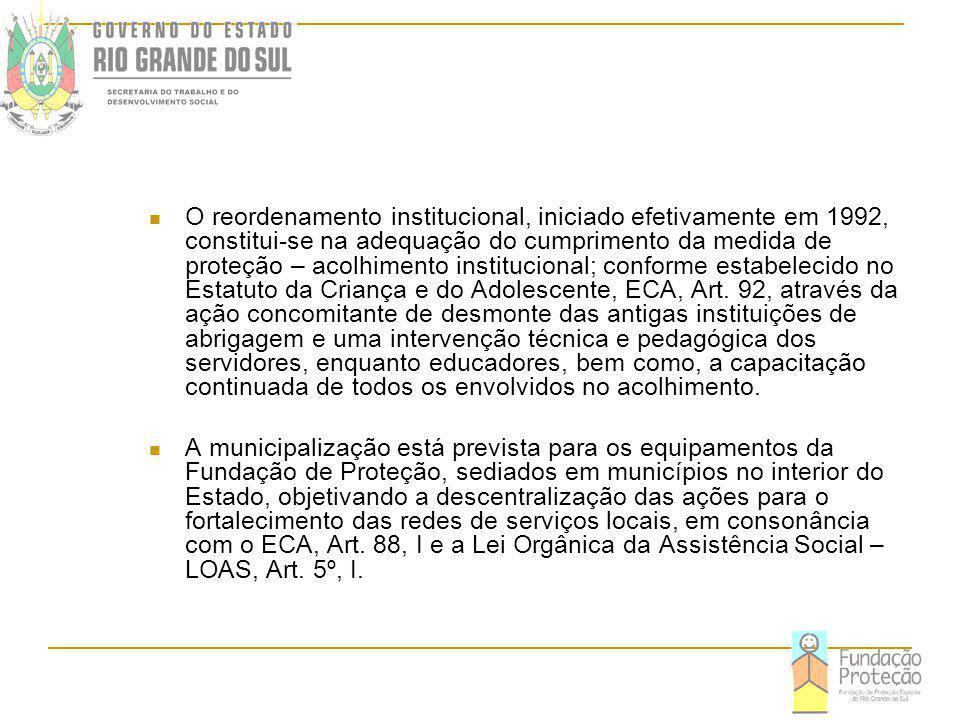 O reordenamento institucional, iniciado efetivamente em 1992, constitui-se na adequação do cumprimento da medida de proteção – acolhimento institucional; conforme estabelecido no Estatuto da Criança e do Adolescente, ECA, Art.