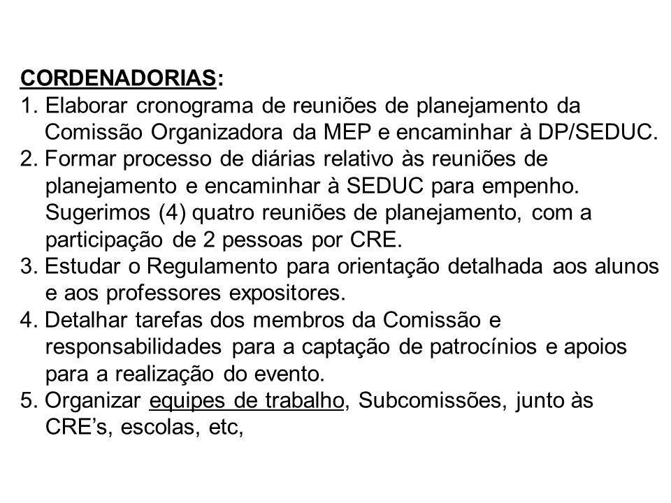 CORDENADORIAS: 1.Elaborar cronograma de reuniões de planejamento da Comissão Organizadora da MEP e encaminhar à DP/SEDUC. 2. Formar processo de diária