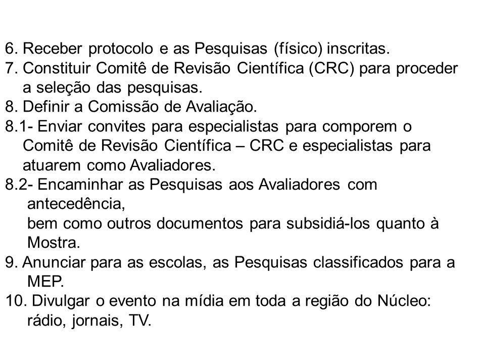 6. Receber protocolo e as Pesquisas (físico) inscritas. 7. Constituir Comitê de Revisão Científica (CRC) para proceder a seleção das pesquisas. 8. Def