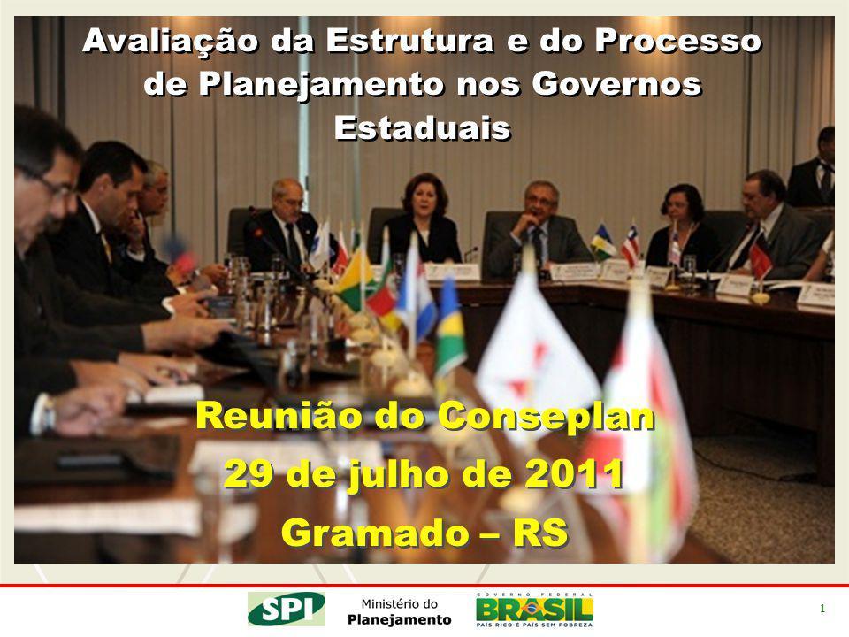 1 Avaliação da Estrutura e do Processo de Planejamento nos Governos Estaduais Reunião do Conseplan 29 de julho de 2011 Gramado – RS Reunião do Consepl