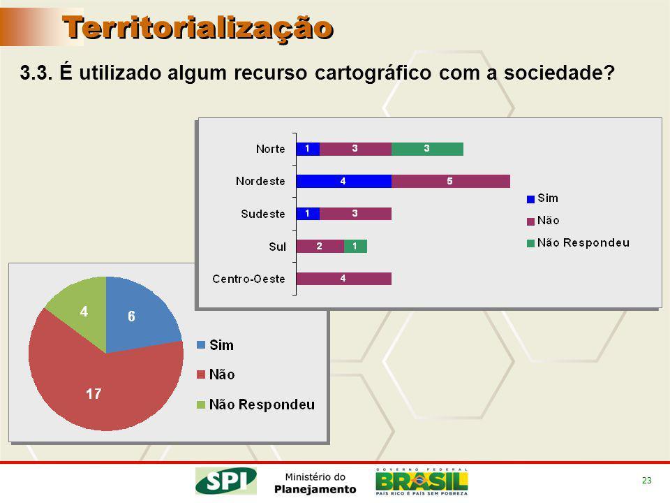 23 3.3. É utilizado algum recurso cartográfico com a sociedade Territorialização