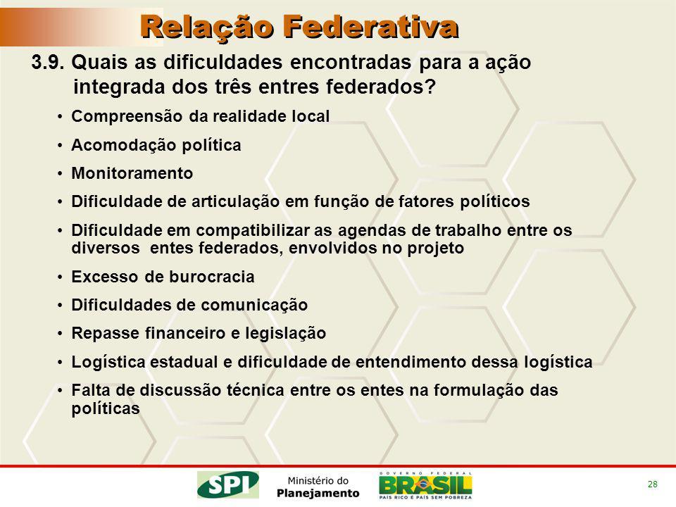 28 3.9. Quais as dificuldades encontradas para a ação integrada dos três entres federados.