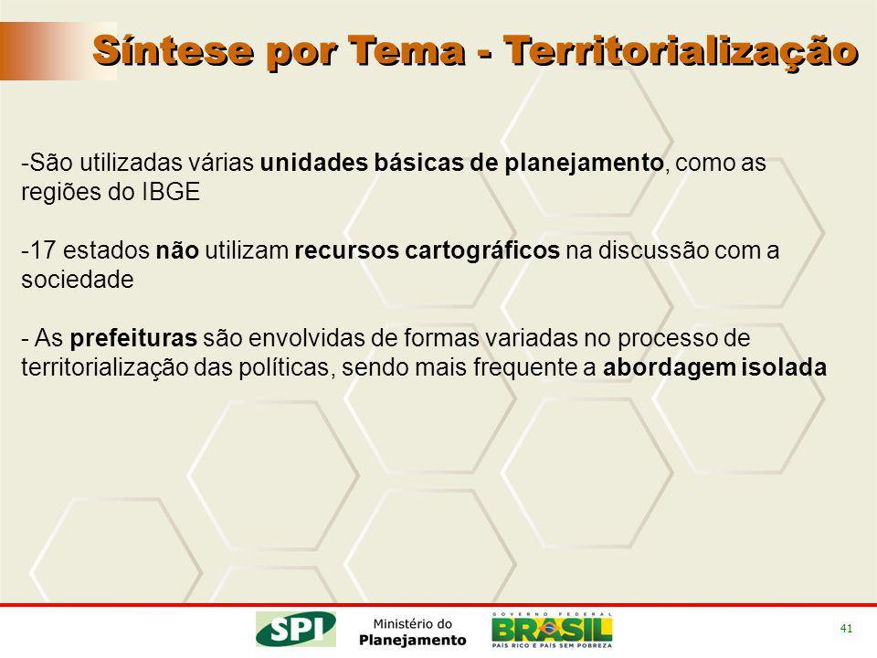 41 Síntese por Tema - Territorialização -São utilizadas várias unidades básicas de planejamento, como as regiões do IBGE -17 estados não utilizam recu
