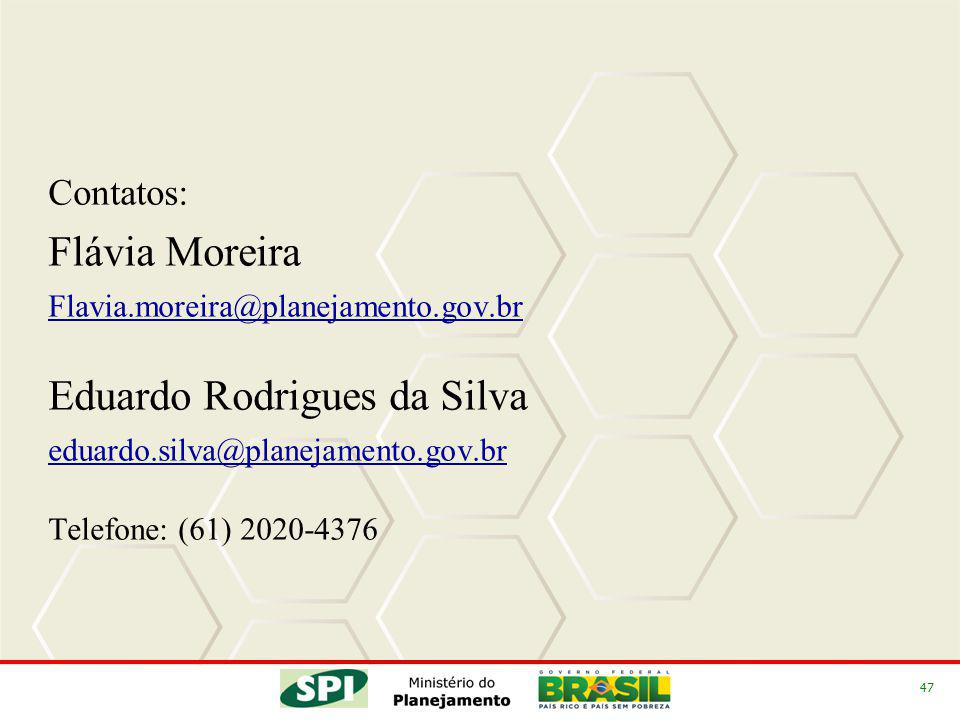 47 Contatos: Flávia Moreira Flavia.moreira@planejamento.gov.br Eduardo Rodrigues da Silva eduardo.silva@planejamento.gov.br Telefone: (61) 2020-4376