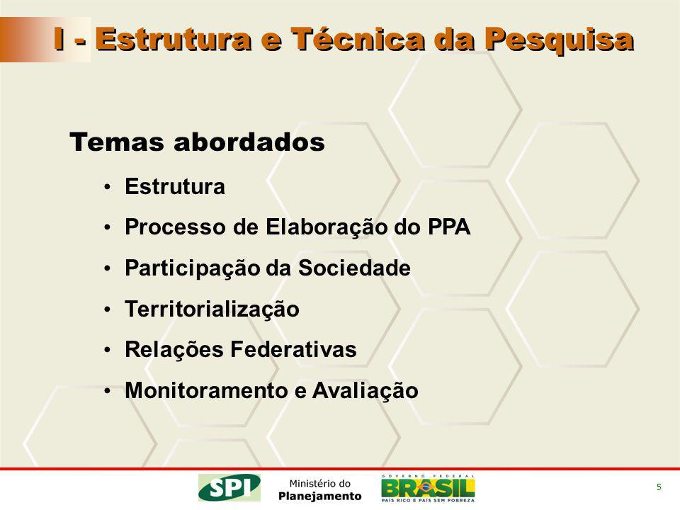 5 Temas abordados Estrutura Processo de Elaboração do PPA Participação da Sociedade Territorialização Relações Federativas Monitoramento e Avaliação I - Estrutura e Técnica da Pesquisa
