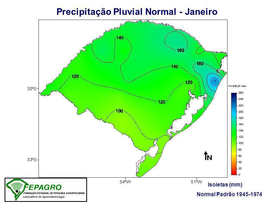 Precipitação Pluvial Normal - Janeiro Isoietas (mm) Normal Padrão 1945-1974