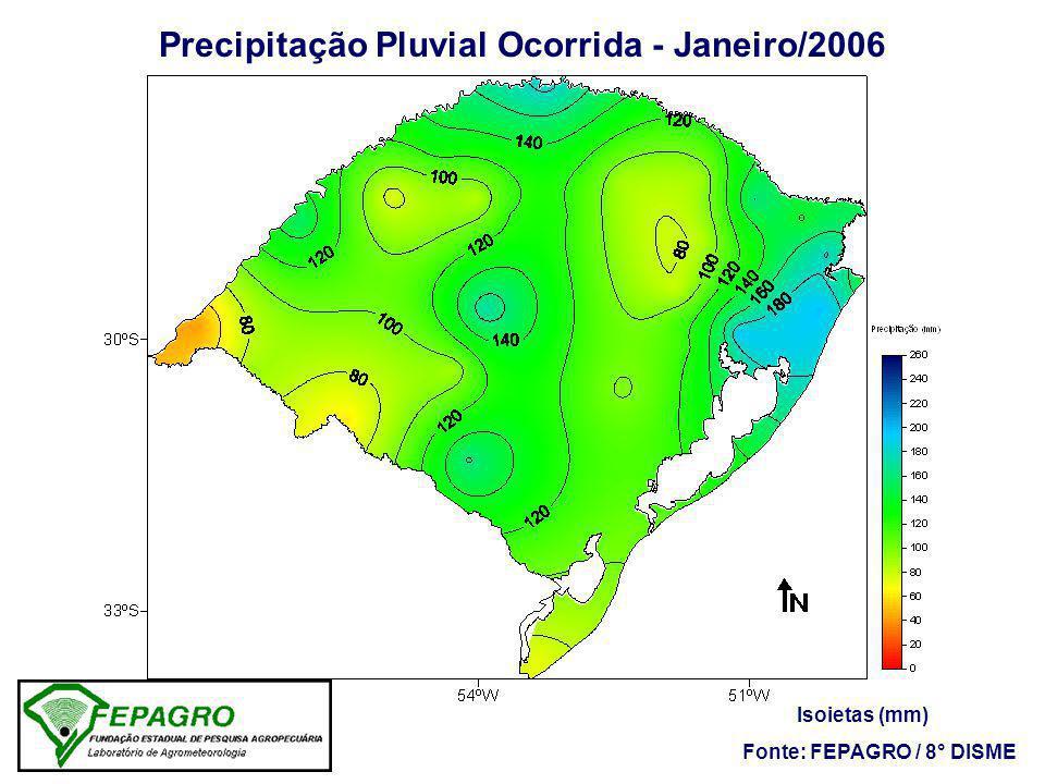 Precipitação Pluvial Ocorrida - Janeiro/2006 Isoietas (mm) Fonte: FEPAGRO / 8° DISME