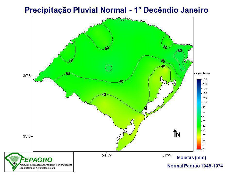 Precipitação Pluvial Normal - 1° Decêndio Janeiro Isoietas (mm) Normal Padrão 1945-1974