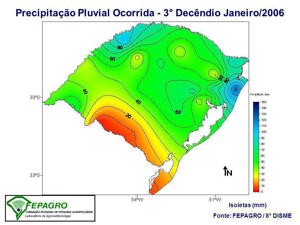 Precipitação Pluvial Ocorrida - 3° Decêndio Janeiro/2006 Isoietas (mm) Fonte: FEPAGRO / 8° DISME