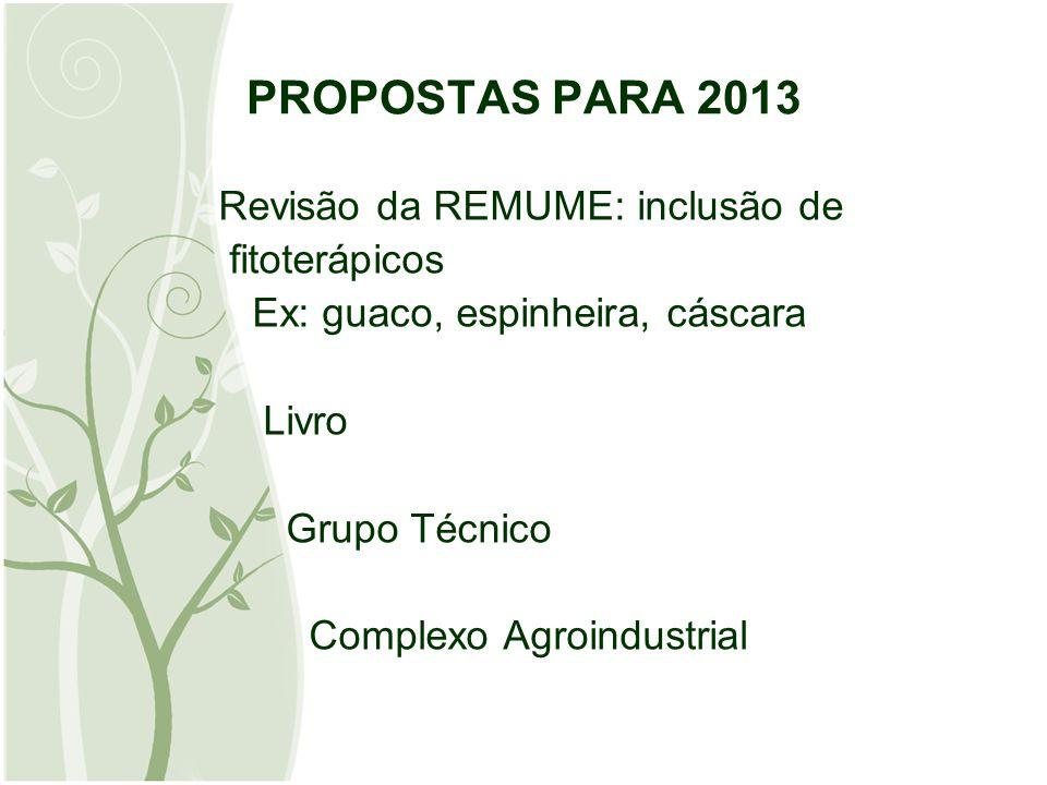 PROPOSTAS PARA 2013 Revisão da REMUME: inclusão de fitoterápicos Ex: guaco, espinheira, cáscara Livro Grupo Técnico Complexo Agroindustrial