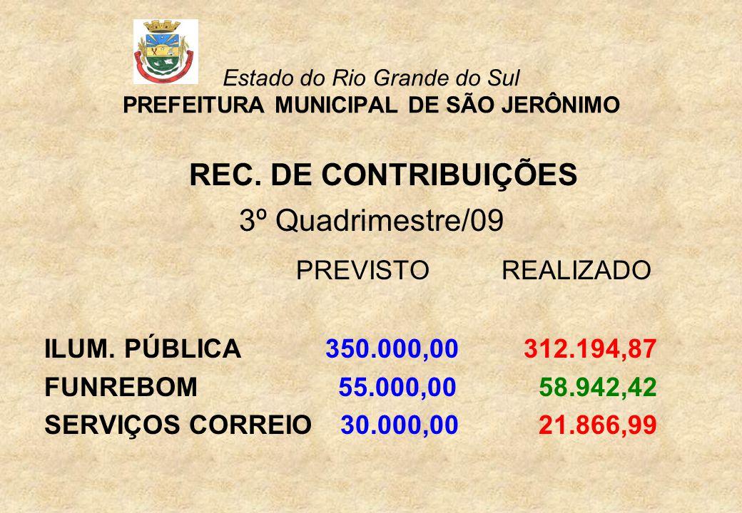 Estado do Rio Grande do Sul PREFEITURA MUNICIPAL DE SÃO JERÔNIMO REC.