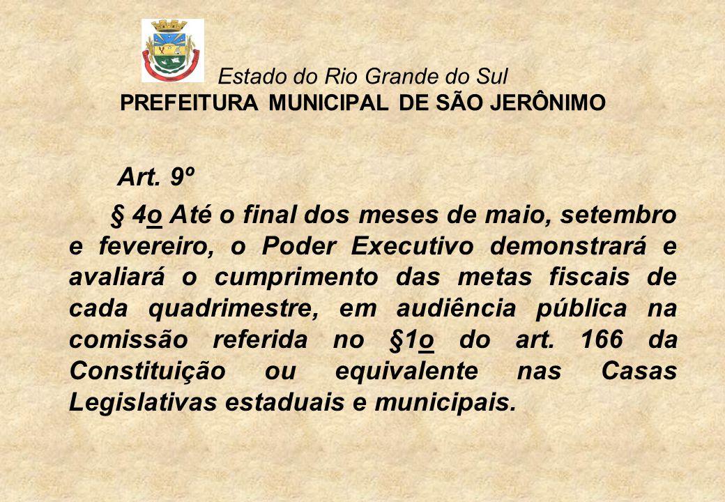 Estado do Rio Grande do Sul PREFEITURA MUNICIPAL DE SÃO JERÔNIMO DIVIDA CONSOLIDADA LIQUIDA 3º Quadrimestre/09 RCL R$ 21.810.852,14 Divida Consolidada Líquida 4.293.945,50 = 24,75% Limite de Alerta 23.555.720,31 = 108% Limite Legal 26.173.022,57 = 120%