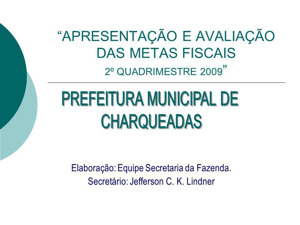 APRESENTAÇÃO E AVALIAÇÃO DAS METAS FISCAIS 2º QUADRIMESTRE 2009 Elaboração: Equipe Secretaria da Fazenda.