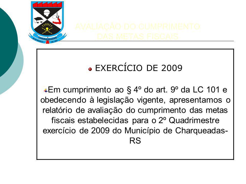 AVALIAÇÃO DO CUMPRIMENTO DAS METAS FISCAIS EXERCÍCIO DE 2009 Em cumprimento ao § 4º do art.