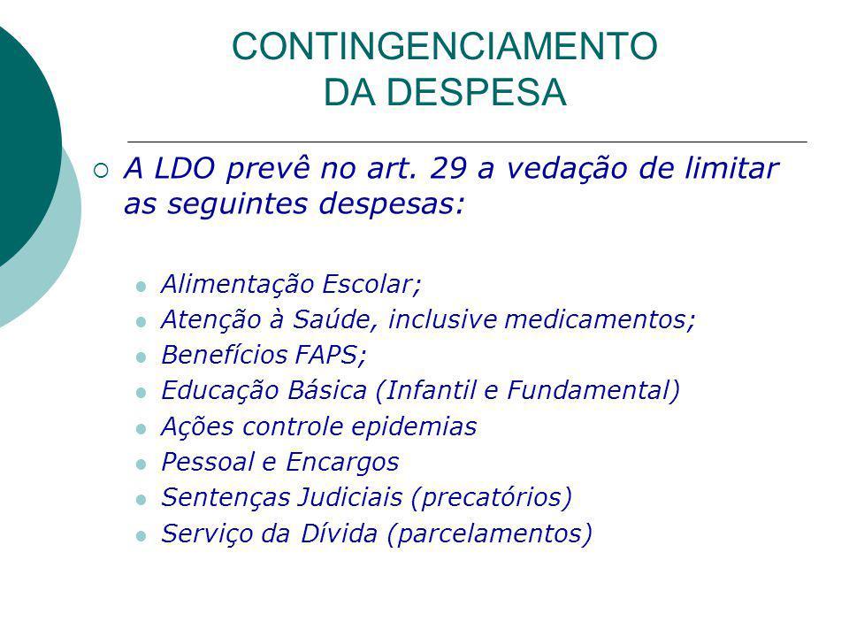 CONTINGENCIAMENTO DA DESPESA A LDO prevê no art.