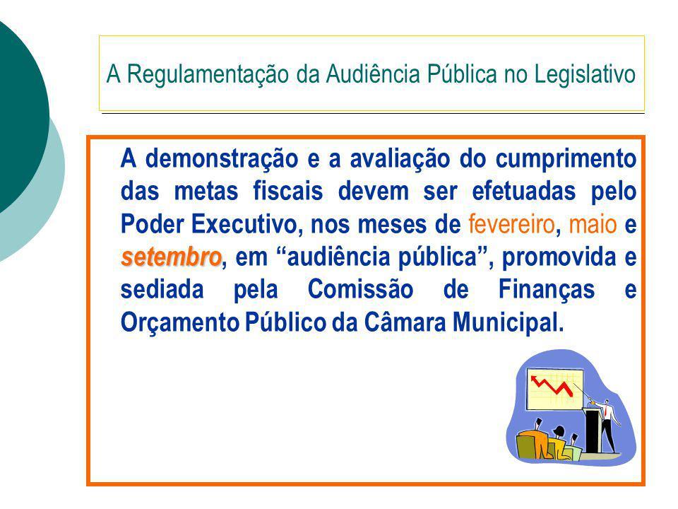 A Regulamentação da Audiência Pública no Legislativo setembro A demonstração e a avaliação do cumprimento das metas fiscais devem ser efetuadas pelo Poder Executivo, nos meses de fevereiro, maio e setembro, em audiência pública, promovida e sediada pela Comissão de Finanças e Orçamento Público da Câmara Municipal.