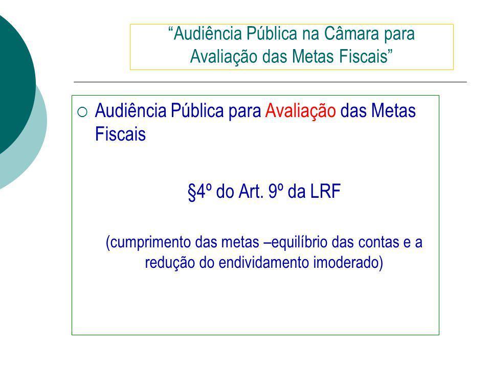 Audiência Pública para Avaliação das Metas Fiscais §4º do Art.
