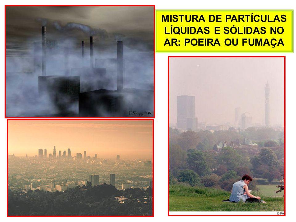 MISTURA DE PARTÍCULAS LÍQUIDAS E SÓLIDAS NO AR: POEIRA OU FUMAÇA