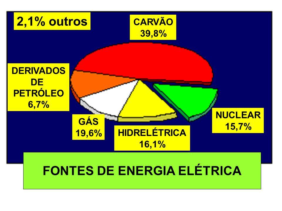 CARVÃO 39,8% GÁS 19,6% HIDRELÉTRICA 16,1% NUCLEAR 15,7% DERIVADOS DE PETRÓLEO 6,7% FONTES DE ENERGIA ELÉTRICA 2,1% outros