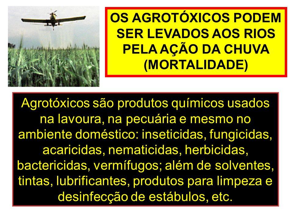 OS AGROTÓXICOS PODEM SER LEVADOS AOS RIOS PELA AÇÃO DA CHUVA (MORTALIDADE) Agrotóxicos são produtos químicos usados na lavoura, na pecuária e mesmo no
