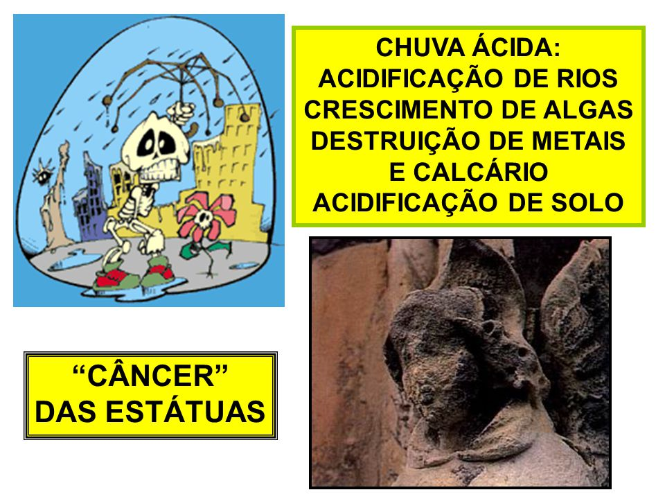 CHUVA ÁCIDA: ACIDIFICAÇÃO DE RIOS CRESCIMENTO DE ALGAS DESTRUIÇÃO DE METAIS E CALCÁRIO ACIDIFICAÇÃO DE SOLO CÂNCER DAS ESTÁTUAS