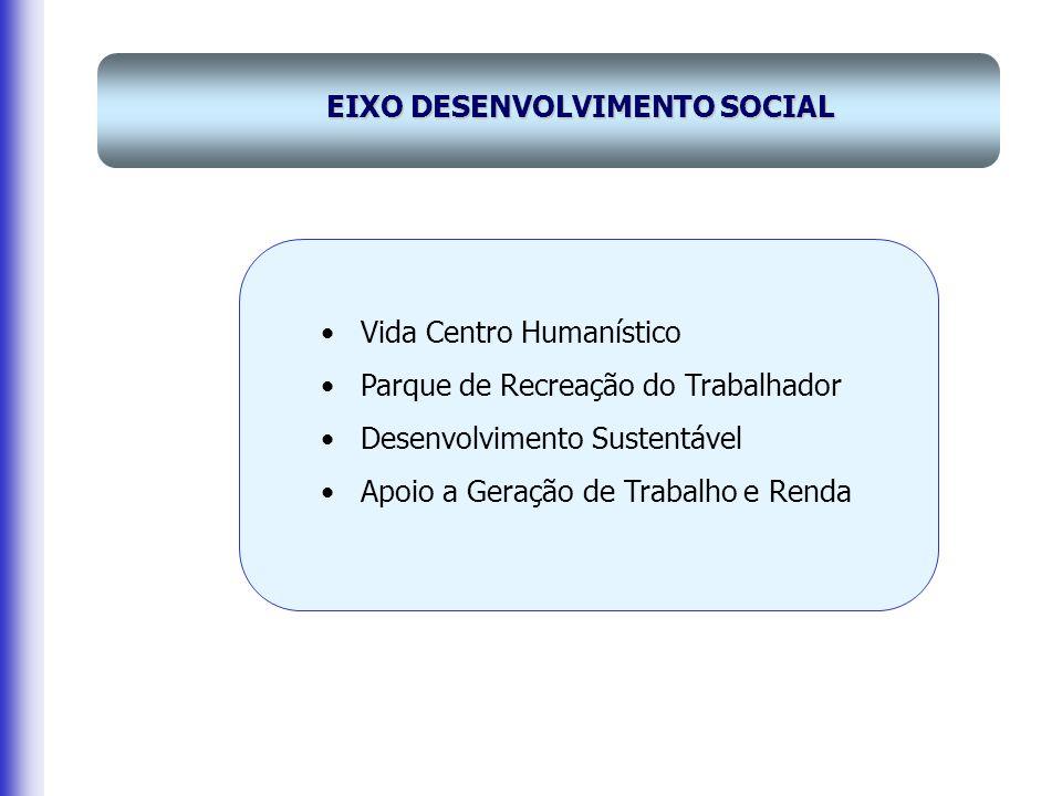 Vida Centro Humanístico Parque de Recreação do Trabalhador Desenvolvimento Sustentável Apoio a Geração de Trabalho e Renda EIXO DESENVOLVIMENTO SOCIAL
