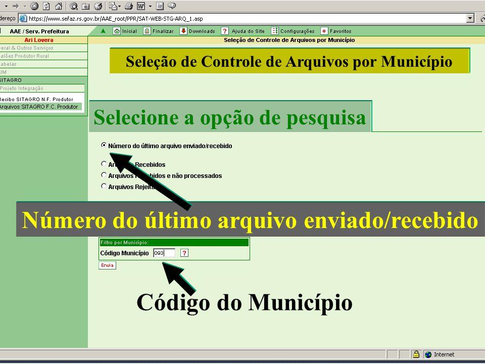 Número do último arquivo enviado/recebido Seleção de Controle de Arquivos por Município Selecione a opção de pesquisa Código do Município