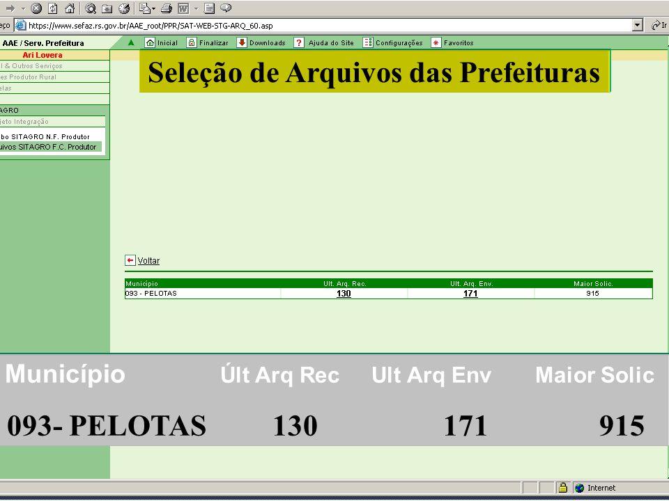 Seleção de Arquivos das Prefeituras Município Últ Arq Rec Ult Arq Env Maior Solic 093- PELOTAS 130 171 915