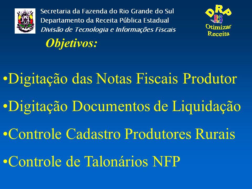 Digitação das Notas Fiscais Produtor Digitação Documentos de Liquidação Controle Cadastro Produtores Rurais Controle de Talonários NFP Objetivos: