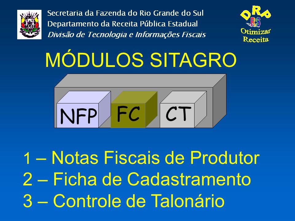 MÓDULOS SITAGRO NFP CTFC 1 – Notas Fiscais de Produtor 2 – Ficha de Cadastramento 3 – Controle de Talonário