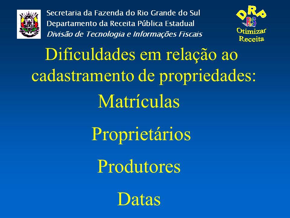 Dificuldades em relação ao cadastramento de propriedades: Matrículas Proprietários Produtores Datas