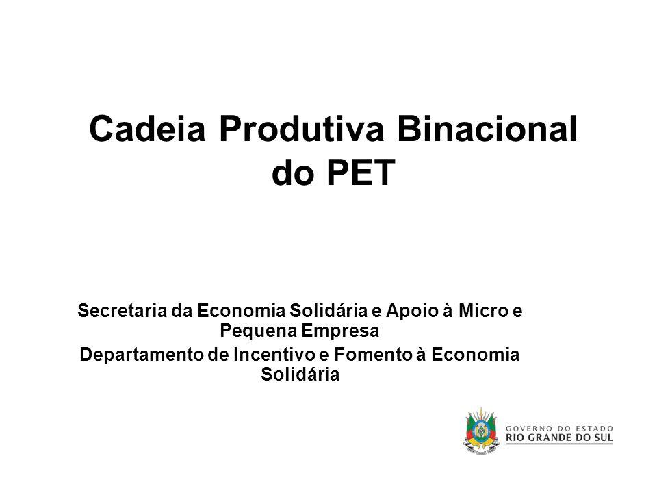 Cadeia Produtiva Binacional do PET Secretaria da Economia Solidária e Apoio à Micro e Pequena Empresa Departamento de Incentivo e Fomento à Economia S
