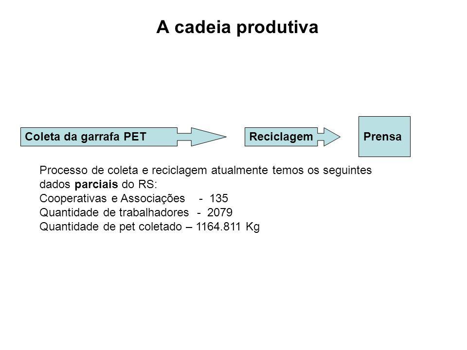 A cadeia produtiva Coleta da garrafa PETReciclagemPrensa Processo de coleta e reciclagem atualmente temos os seguintes dados parciais do RS: Cooperati