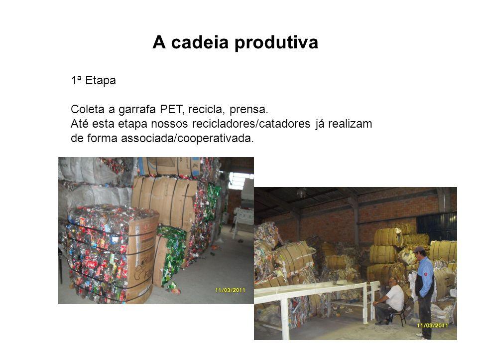 A cadeia produtiva 1ª Etapa Coleta a garrafa PET, recicla, prensa. Até esta etapa nossos recicladores/catadores já realizam de forma associada/coopera