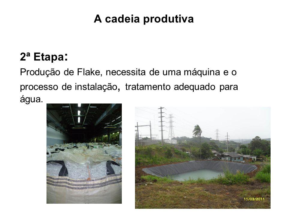 A cadeia produtiva 2ª Etapa : Produção de Flake, necessita de uma máquina e o processo de instalação, tratamento adequado para água.