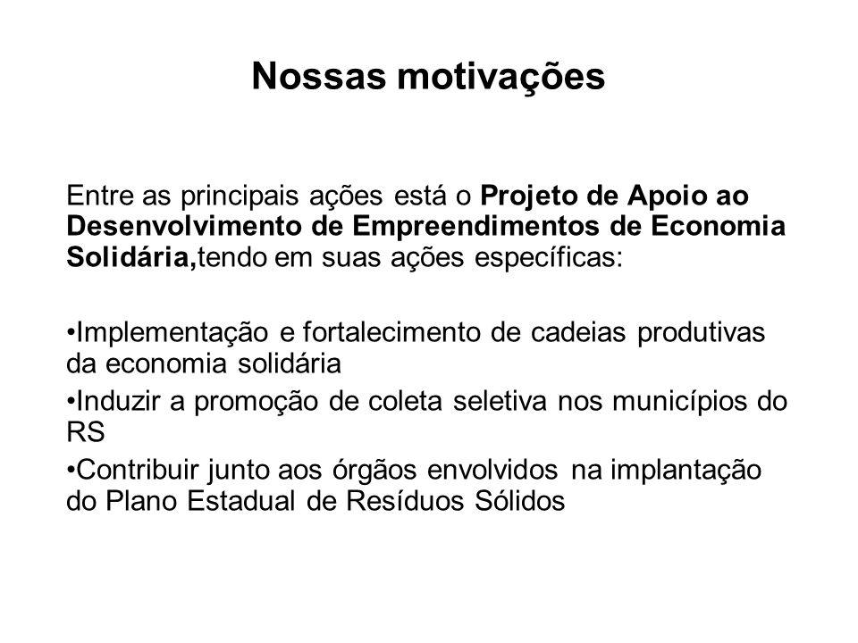 Nossas motivações Entre as principais ações está o Projeto de Apoio ao Desenvolvimento de Empreendimentos de Economia Solidária,tendo em suas ações es