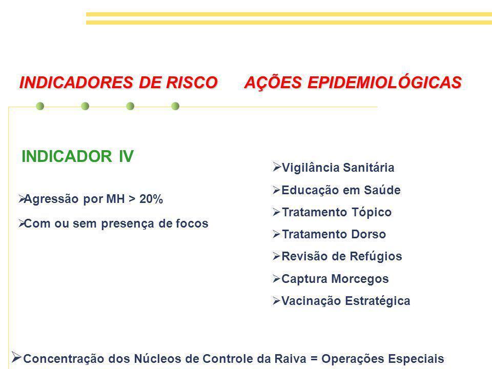 INDICADORES DE RISCO AÇÕES EPIDEMIOLÓGICAS INDICADOR IV Agressão por MH > 20% Com ou sem presença de focos Vigilância Sanitária Educação em Saúde Tratamento Tópico Tratamento Dorso Revisão de Refúgios Captura Morcegos Vacinação Estratégica Concentração dos Núcleos de Controle da Raiva = Operações Especiais