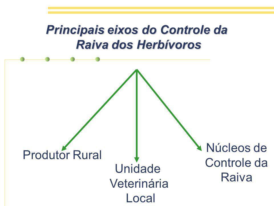 Produtor Rural Unidade Veterinária Local Núcleos de Controle da Raiva Principais eixos do Controle da Raiva dos Herbívoros Raiva dos Herbívoros