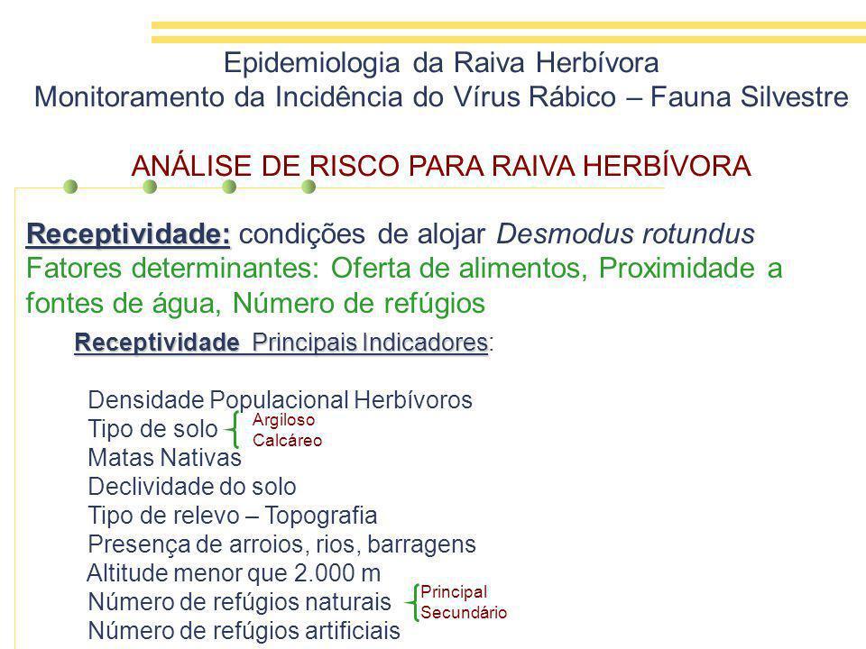 Receptividade: Receptividade: condições de alojar Desmodus rotundus Fatores determinantes: Oferta de alimentos, Proximidade a fontes de água, Número de refúgios Epidemiologia da Raiva Herbívora Monitoramento da Incidência do Vírus Rábico – Fauna Silvestre ANÁLISE DE RISCO PARA RAIVA HERBÍVORA Receptividade Principais Indicadores Receptividade Principais Indicadores: Densidade Populacional Herbívoros Tipo de solo Matas Nativas Declividade do solo Tipo de relevo – Topografia Presença de arroios, rios, barragens Altitude menor que 2.000 m Número de refúgios naturais Número de refúgios artificiais Argiloso Calcáreo Principal Secundário